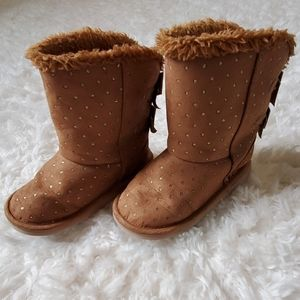 Girls Size 8 Brown Boots with gold sparkle dots
